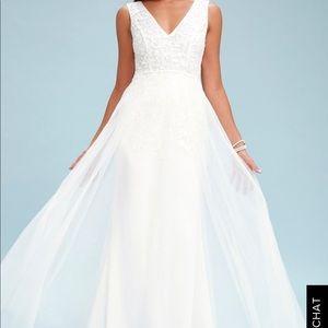 Lulu's MINNIE WHITE LACE MAXI DRESS